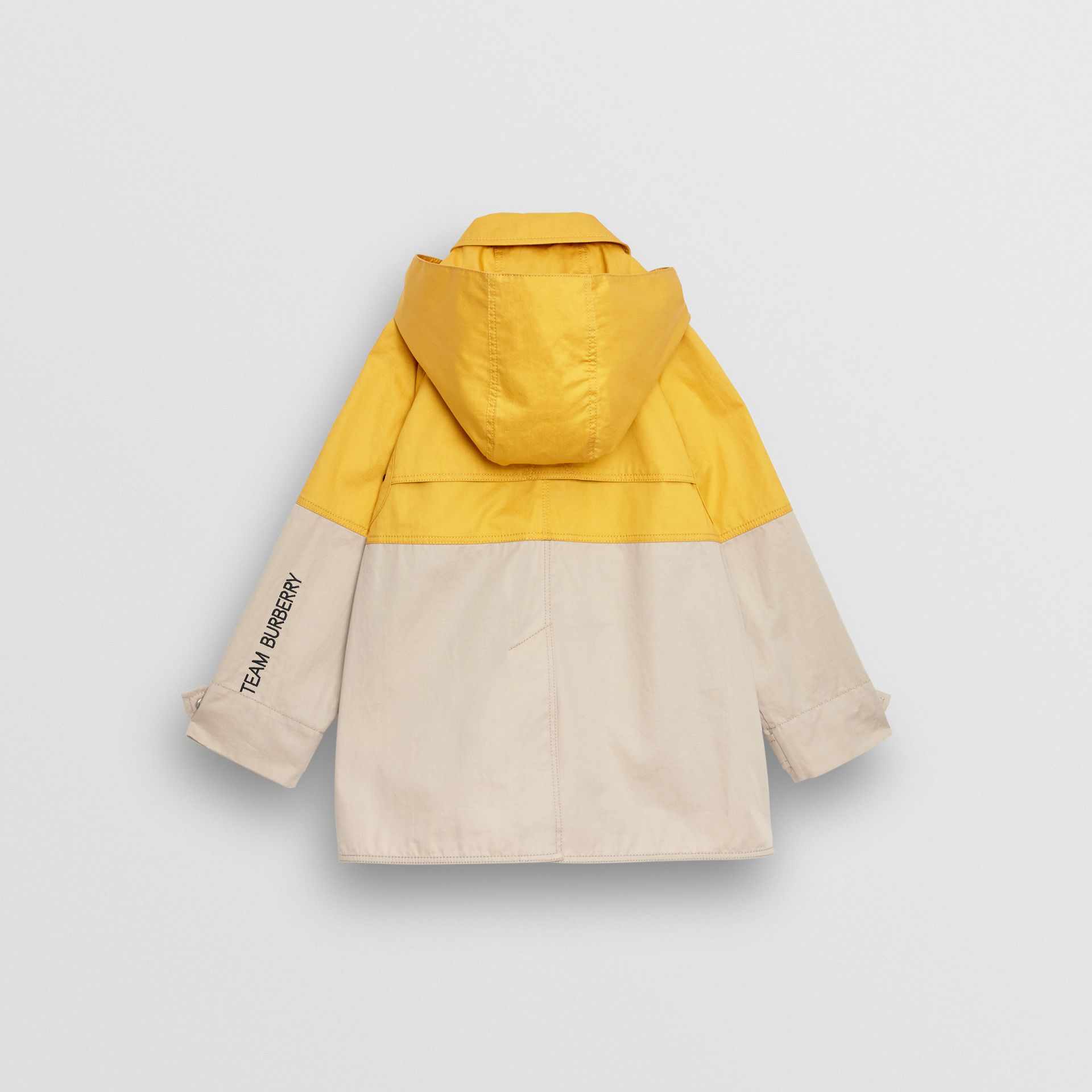 Detachable Hood Colour Block Cotton Car Coat in Gorse Yellow - Boy | Burberry - gallery image 3