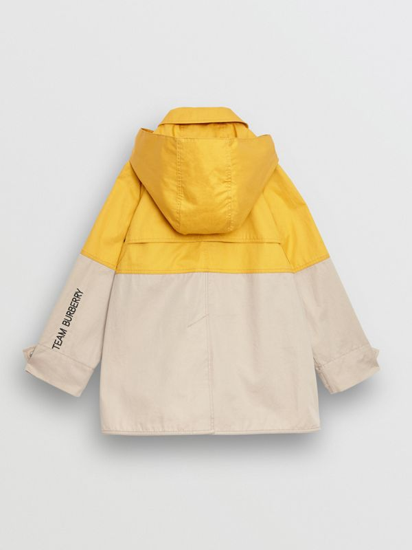Detachable Hood Colour Block Cotton Car Coat in Gorse Yellow | Burberry - cell image 3