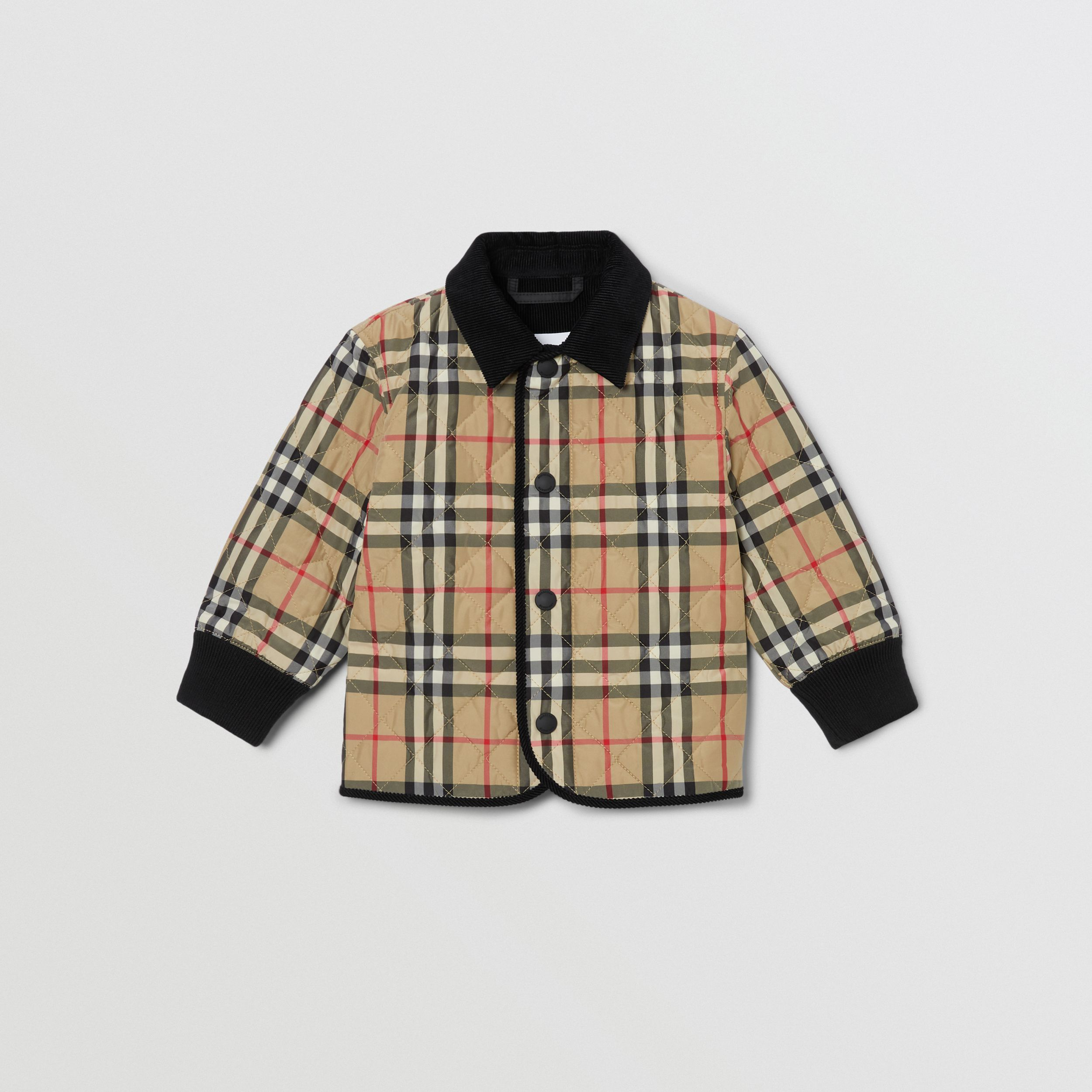 Corduroy Trim Vintage Check Diamond Quilted Jacket in Archive Beige - Children | Burberry - 1