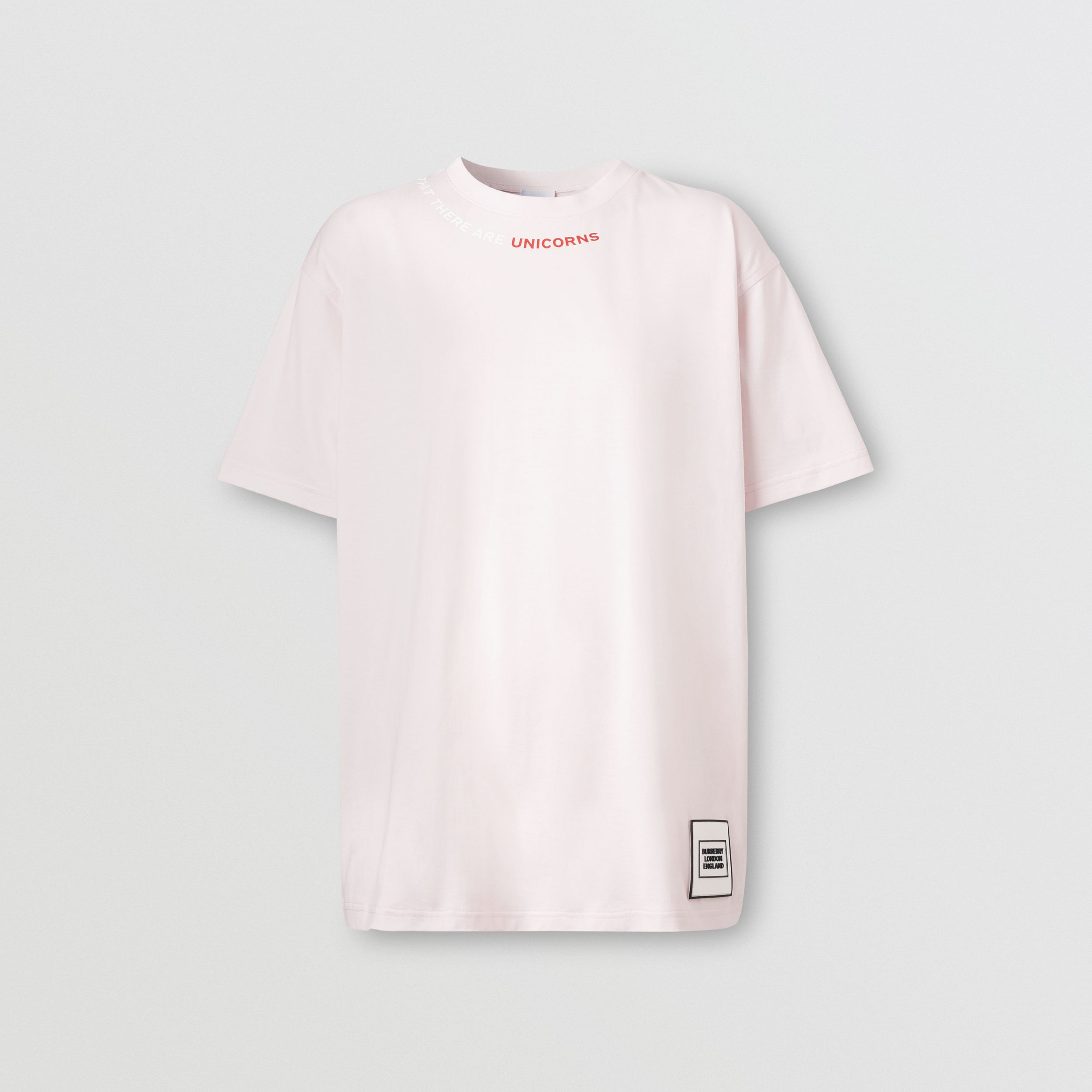 Quote Print Cotton Oversized T-shirt in Pale Pink - Women | Burberry - 4