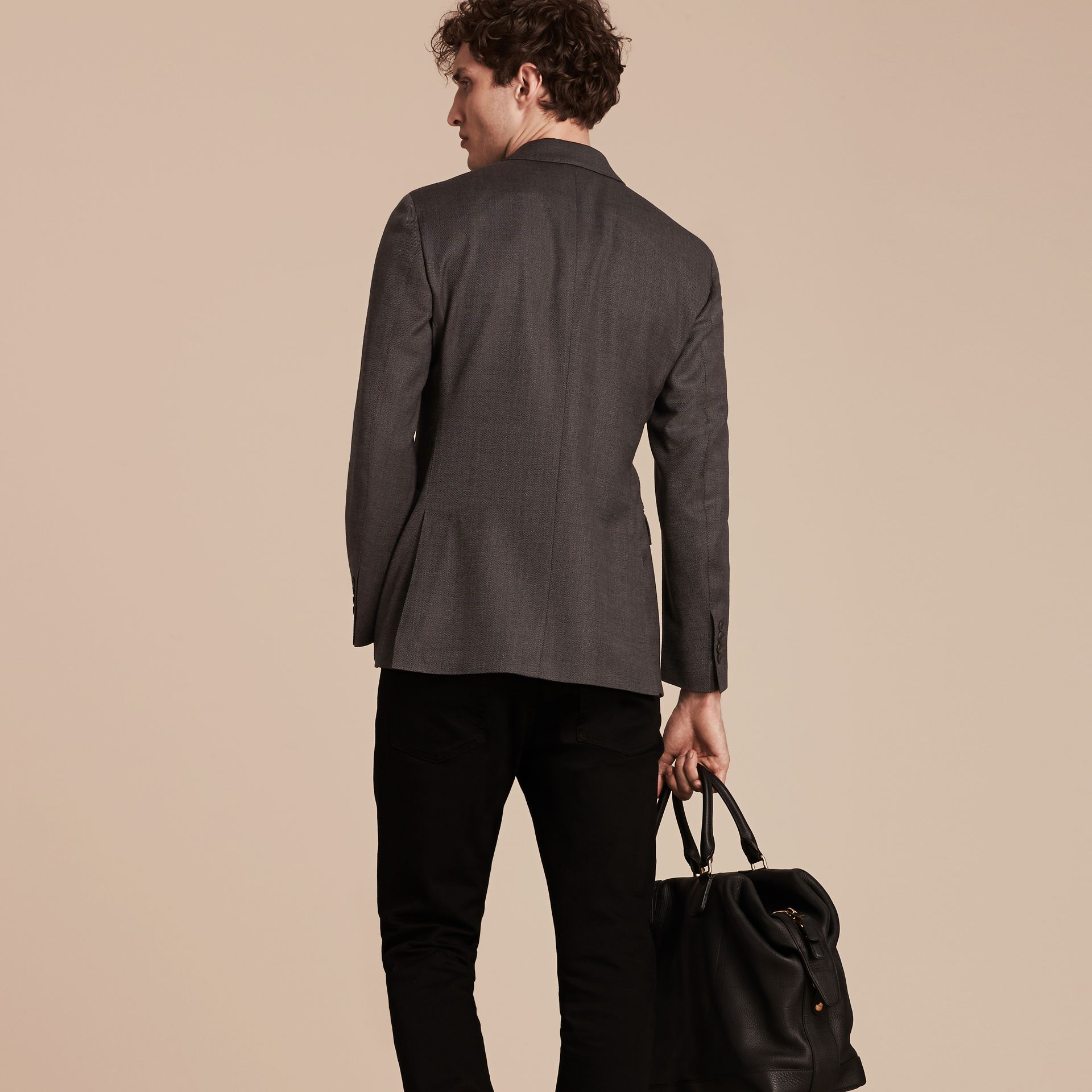 Dark grey Modern Fit Tailored Wool Jacket - gallery image 2