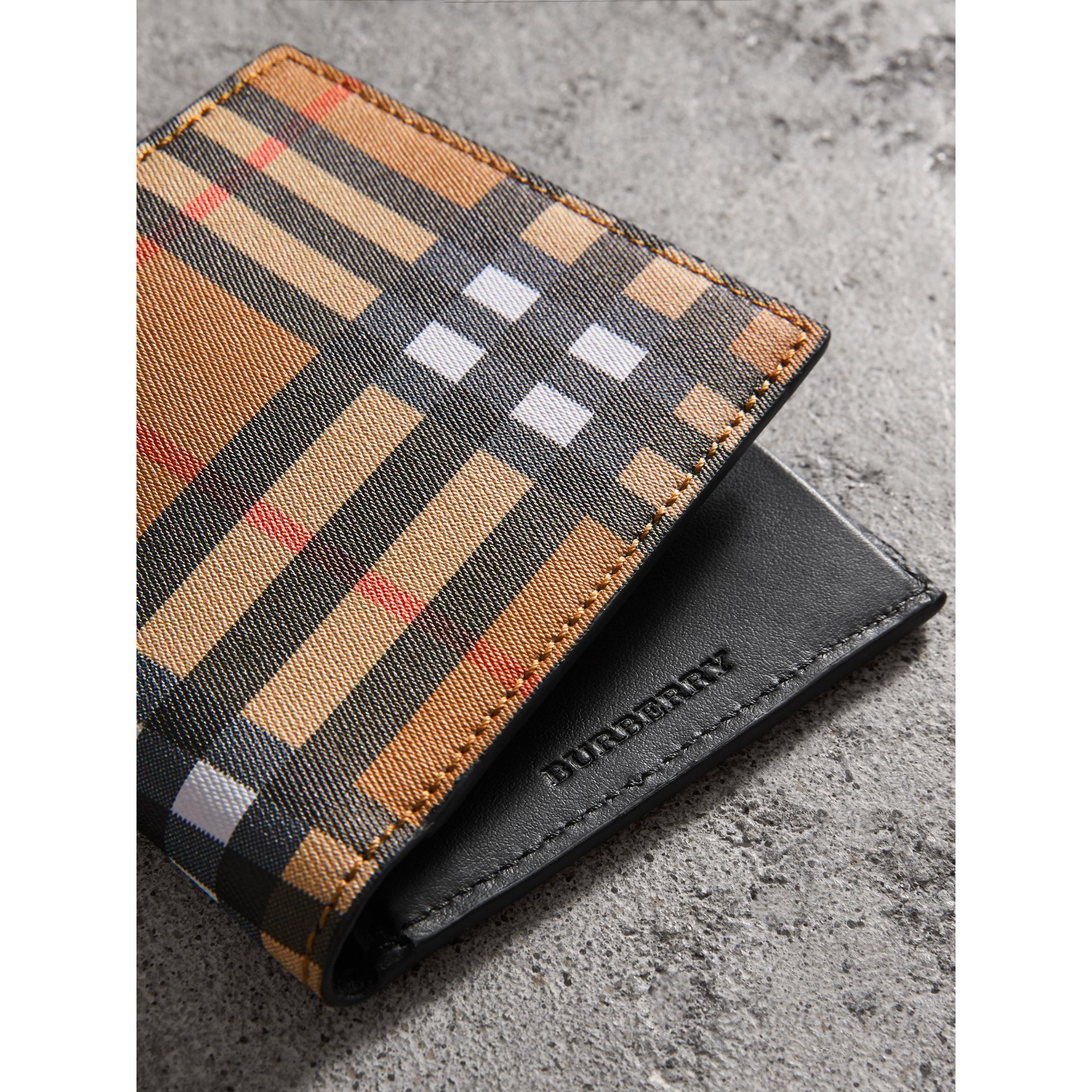 Vintage Check International Bifold Coin Wallet in Black - Men | Burberry - gallery image 1