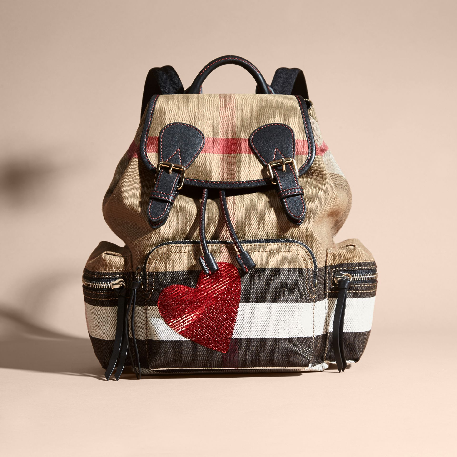 Red The Medium Rucksack in Canvas Check with Sequinned Heart - gallery image 8