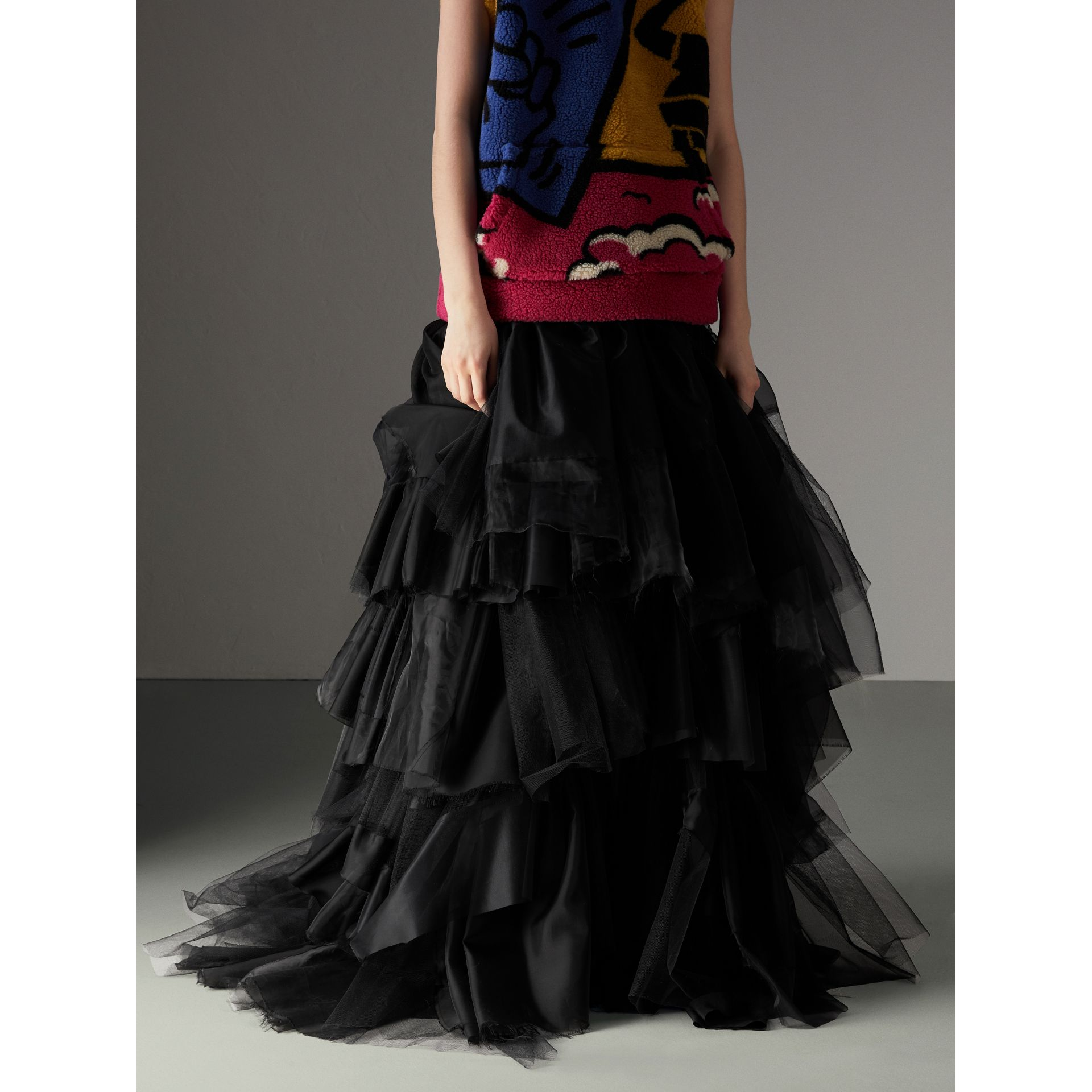 Organza and Tulle Tiered Maxi Skirt in Black - Women | Burberry Australia - gallery image 4