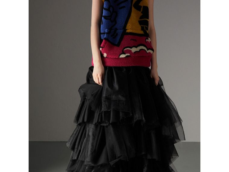 Organza and Tulle Tiered Maxi Skirt in Black - Women | Burberry - cell image 4