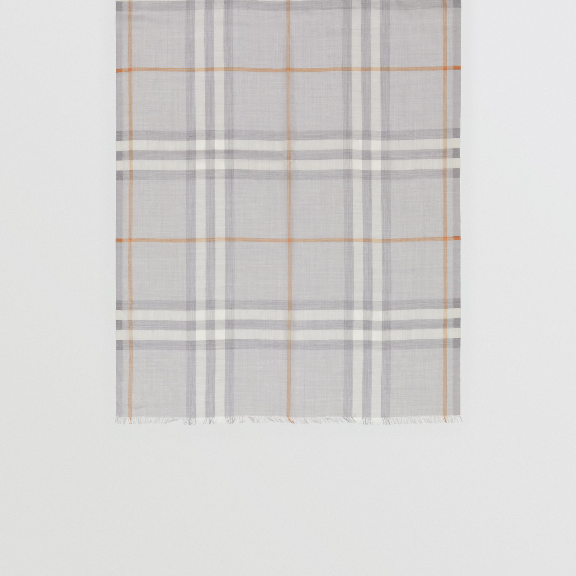 Lightweight Check Wool Silk Scarf in Light Grey | Burberry United Kingdom - gallery image 4
