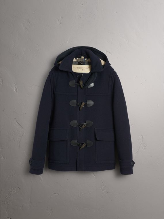 Wool Duffle Jacket with Detachable Hood in Navy - Men | Burberry - cell image 3