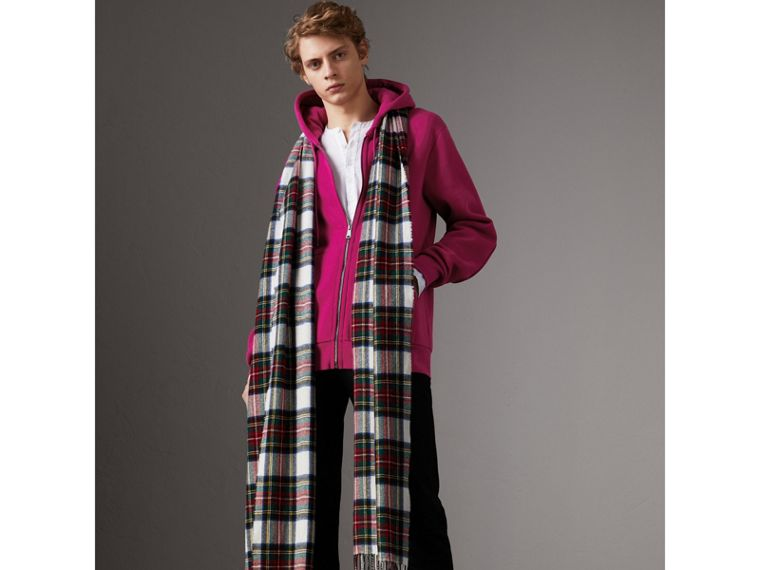 Cotton Jersey Zip-front Hooded Top in Bright Fuchsia - Men | Burberry Hong Kong - cell image 2