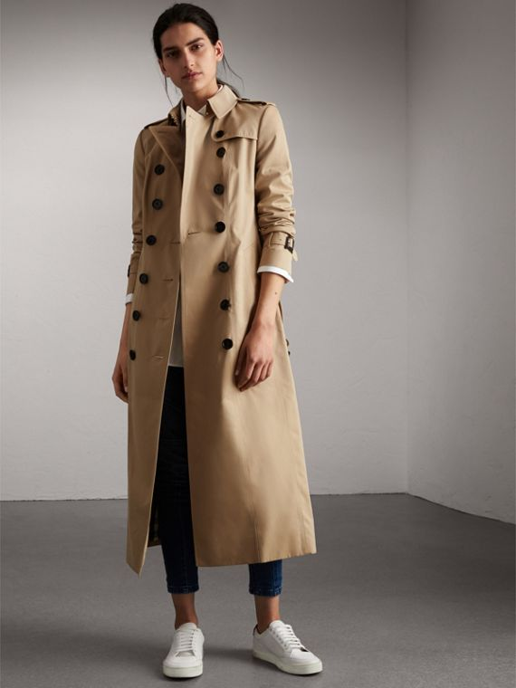 Long Cotton Gabardine Trench Coat in Honey