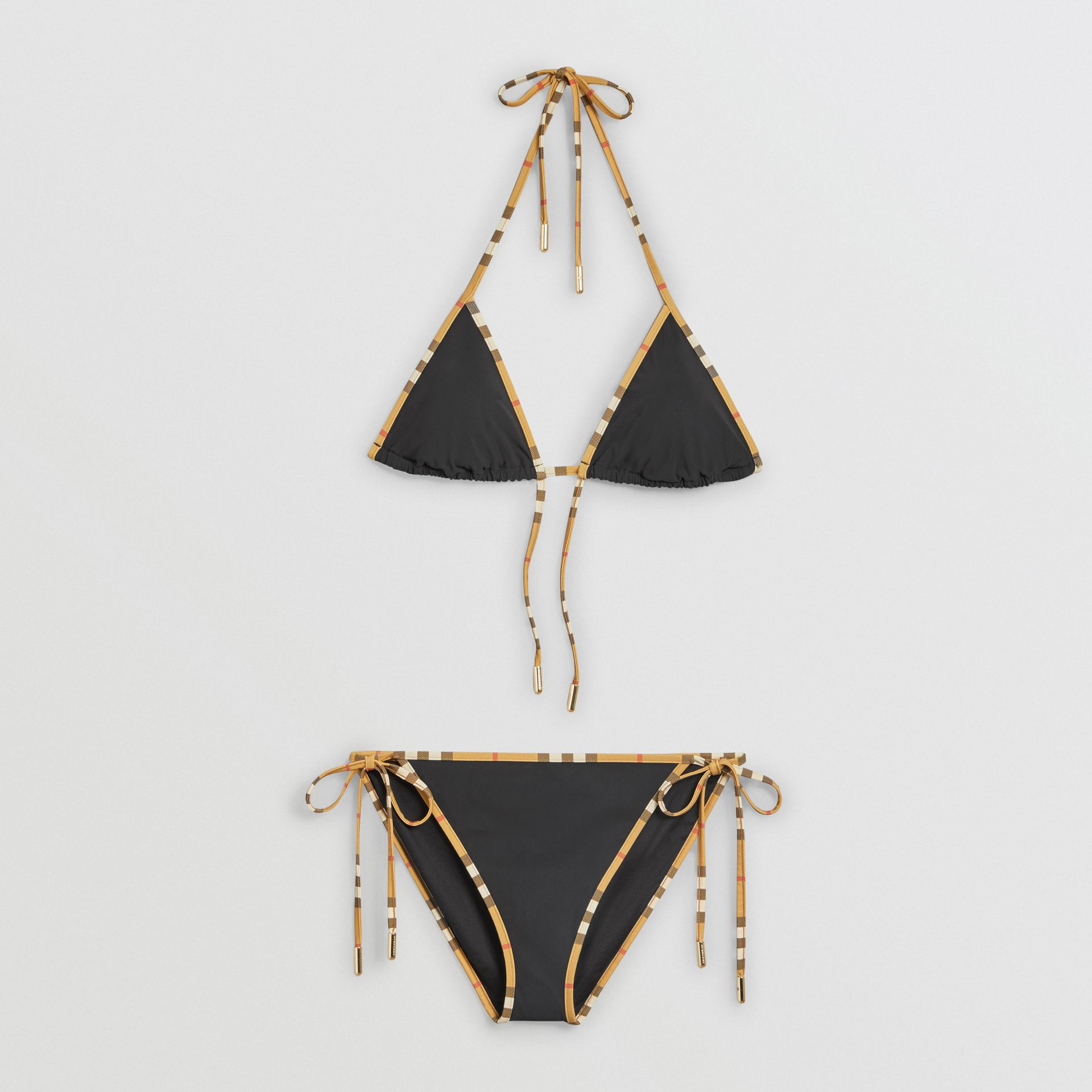 Vintage Check Trim Triangle Bikini in Black - Women | Burberry United Kingdom - gallery image 2