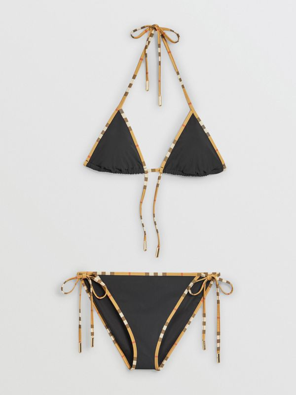 Vintage Check Trim Triangle Bikini in Black - Women | Burberry Australia - cell image 2