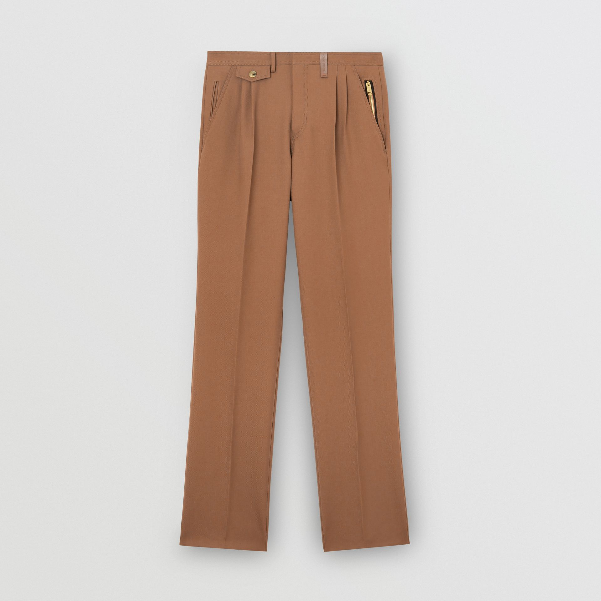 Zip Detail Wool Twill Pleated Trousers in Dark Walnut - Men | Burberry - gallery image 3