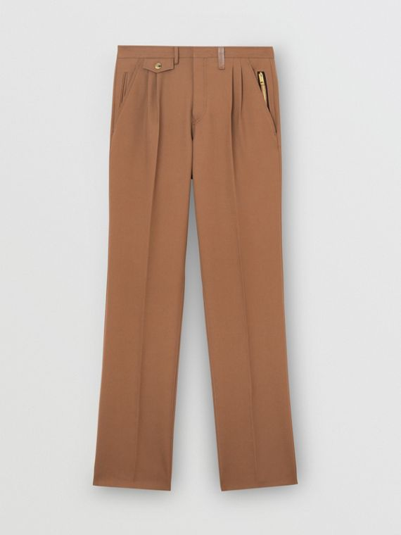 Zip Detail Wool Twill Pleated Trousers in Dark Walnut