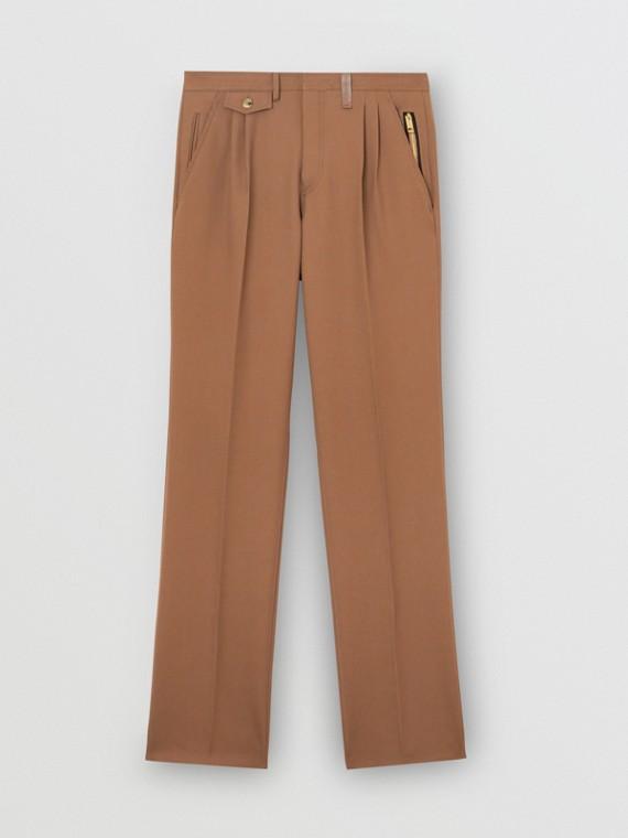 Hose aus Wolltwill mit Bügelfalten und Reißverschlussdetail (Dunkles Walnussfarben)