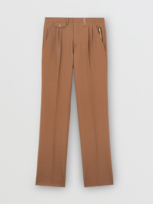 Zip Detail Wool Twill Pleated Trousers in Dark Walnut - Men | Burberry United Kingdom - cell image 3