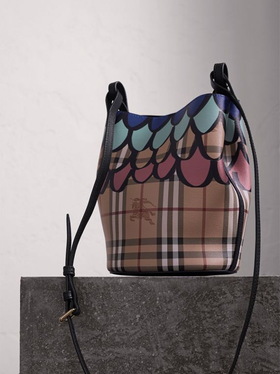 Trompe L'oeil Print Crossbody Bucket Bag in Black - Women | Burberry - cell image 3