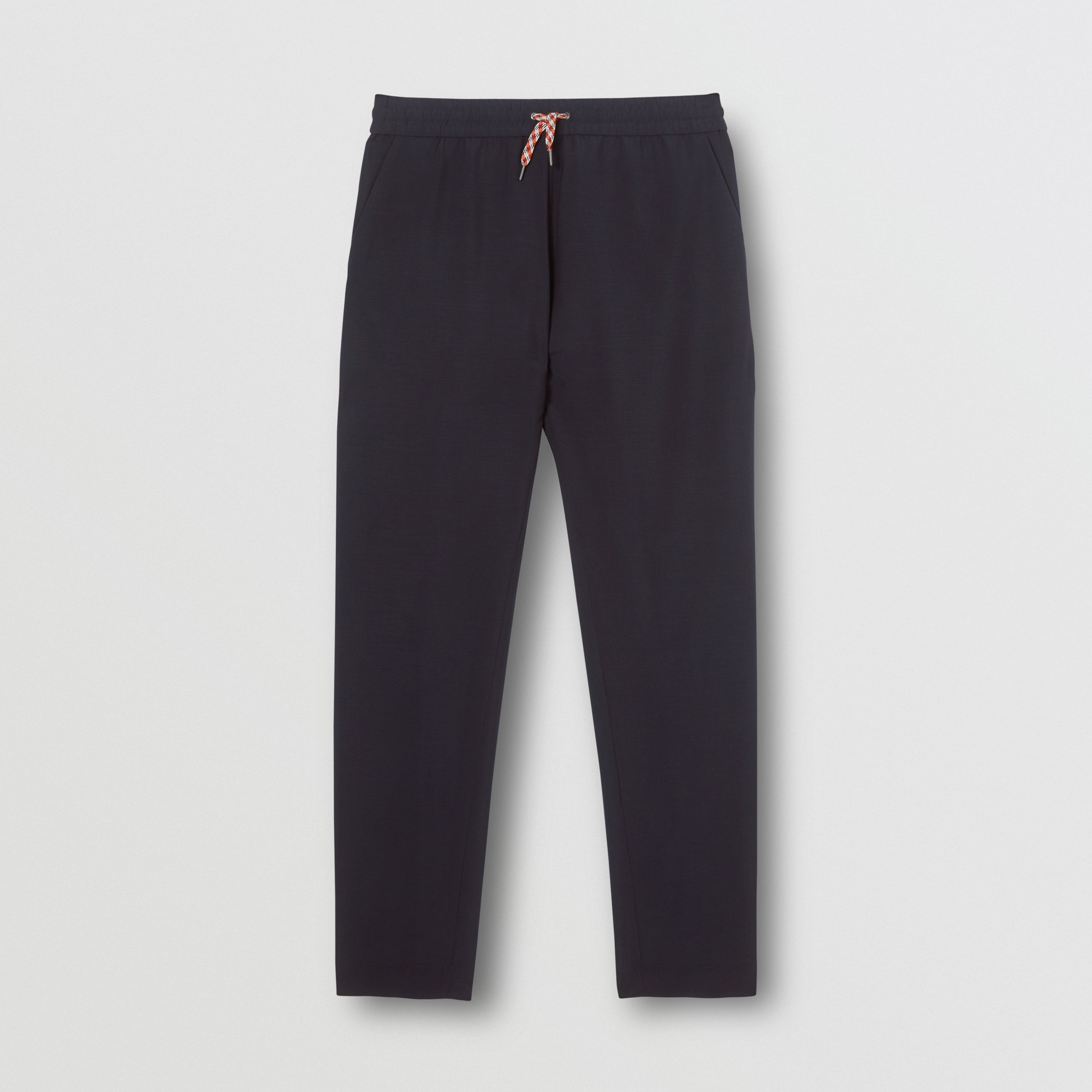 Icon Stripe Panel Wool Mohair Jogging Pants in Navy - Men | Burberry - 4