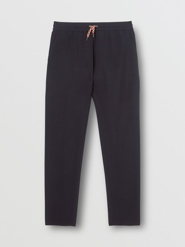 Icon Stripe Detail Wool Mohair Trackpants in Navy - Men | Burberry - cell image 3