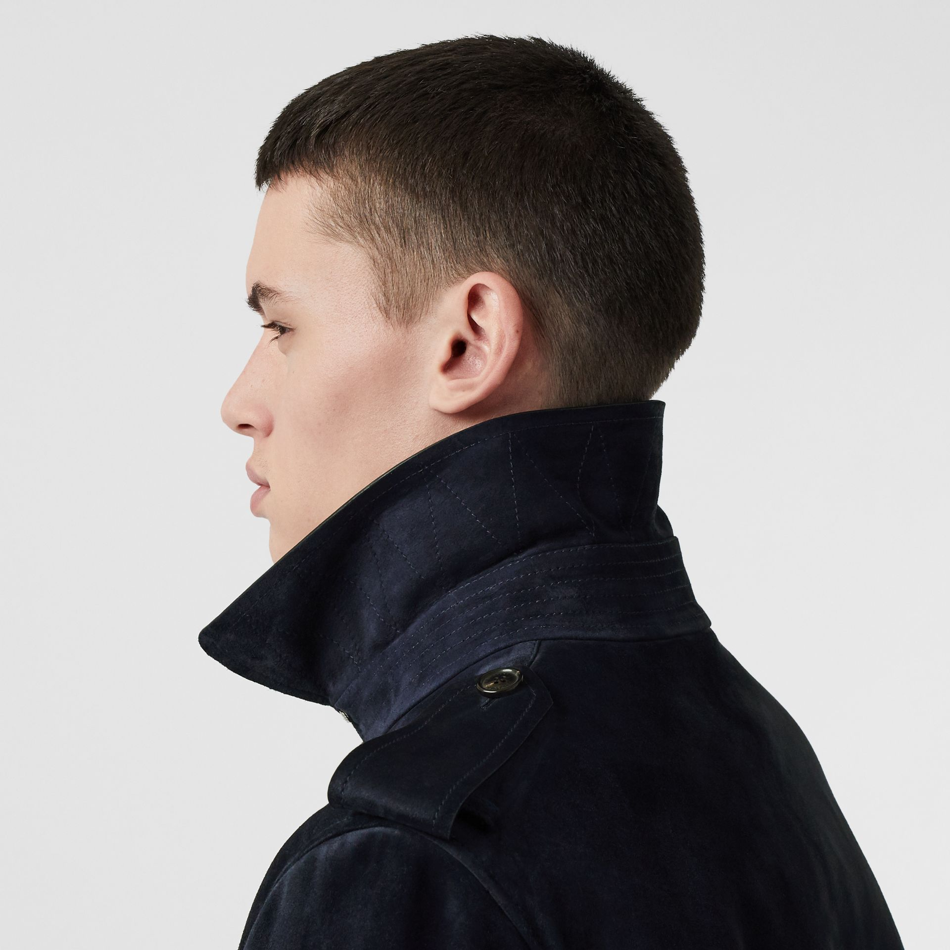 Suede Trench Coat in Navy - Men | Burberry - gallery image 4