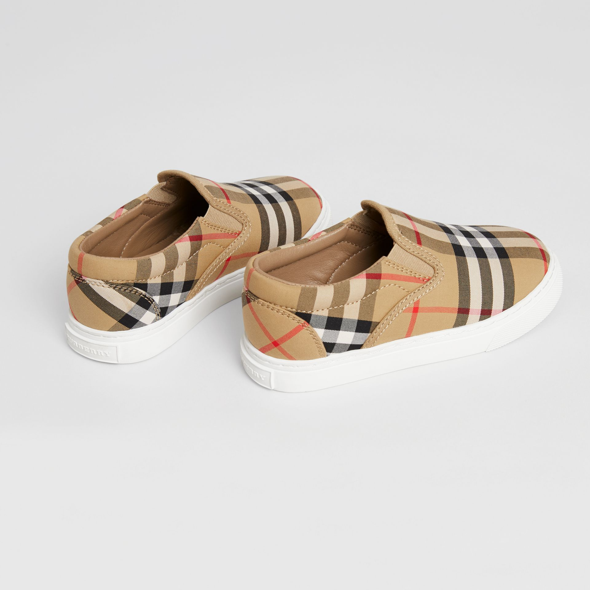 Vintage Check and Leather Slip-on Sneakers in Antique Yellow/optic White | Burberry Australia - gallery image 2