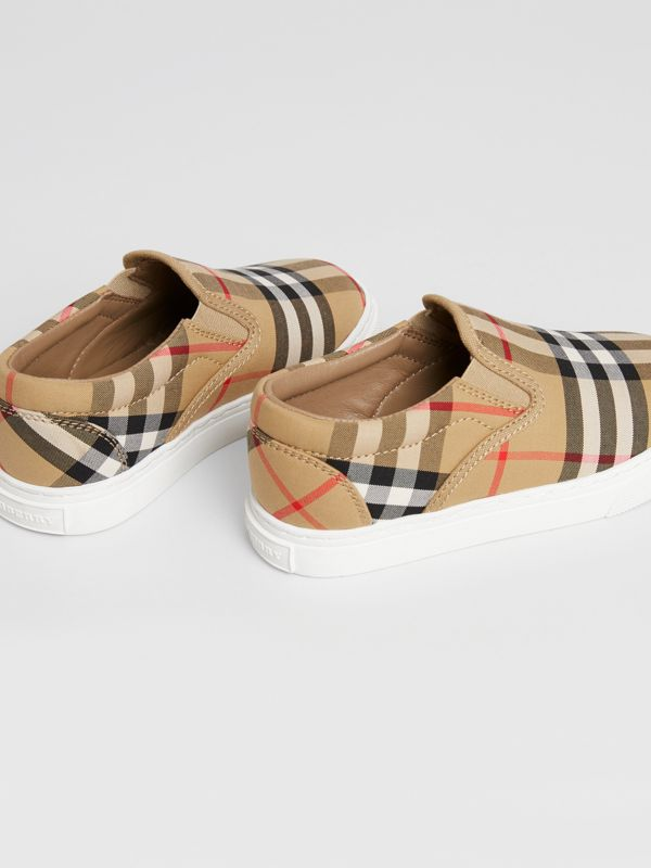 Vintage Check and Leather Slip-on Sneakers in Antique Yellow/optic White | Burberry Canada - cell image 2