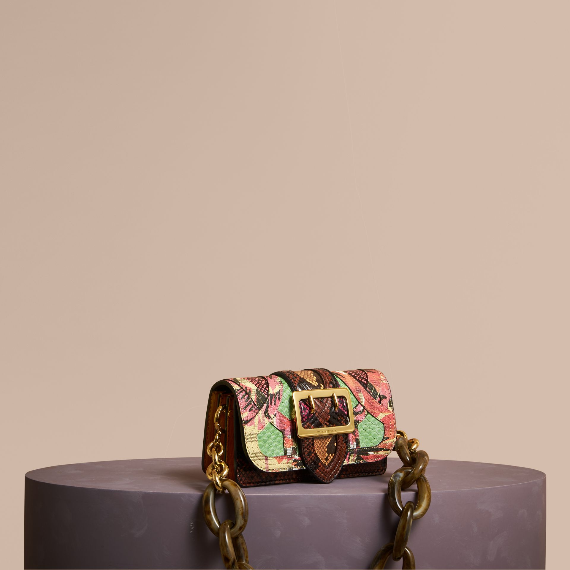 The Small Buckle Bag in Snakeskin and Floral Print - gallery image 1