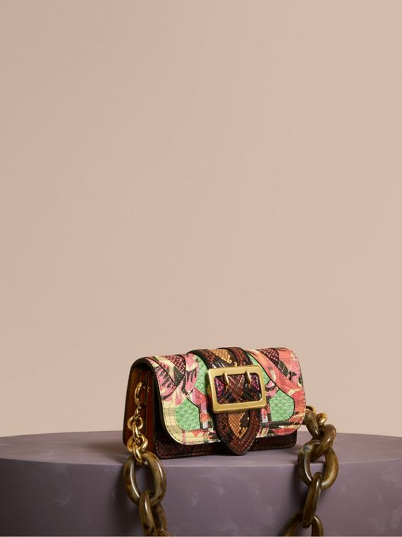 The Small Buckle Bag in Snakeskin and Floral Print