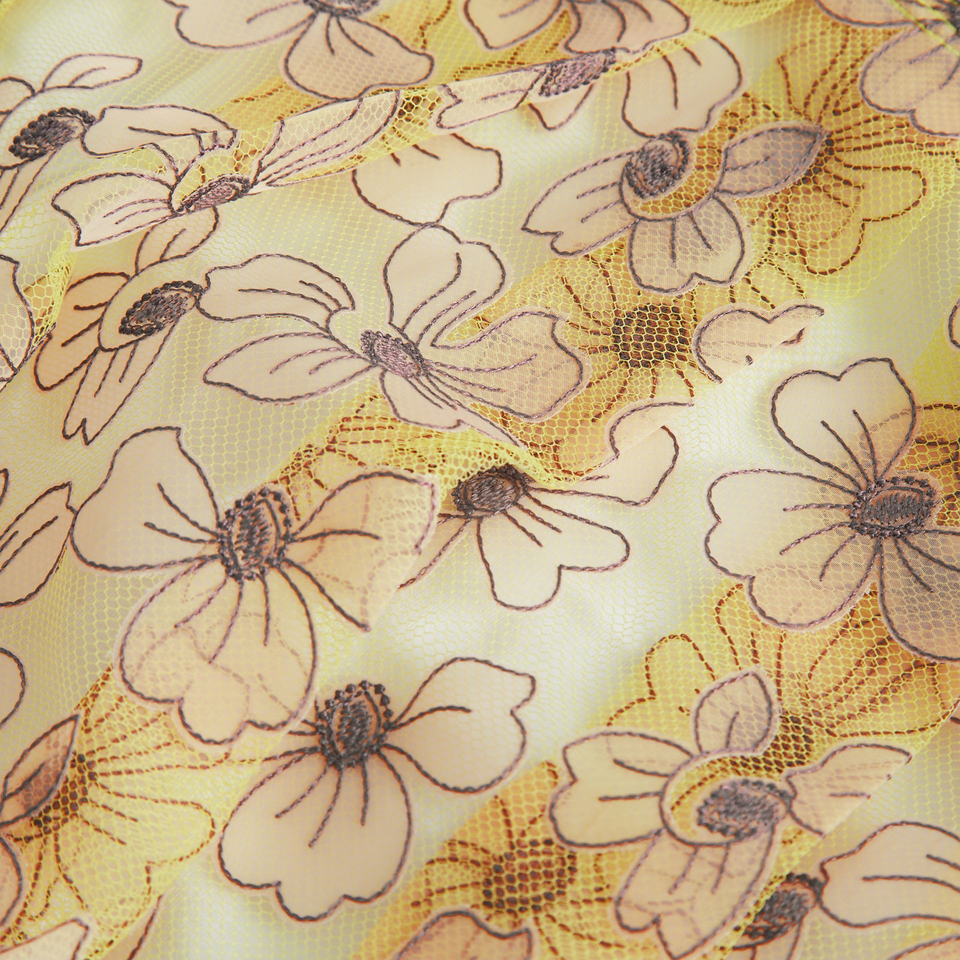Floral Appliqué Tulle Dress in Citrus Yellow | Burberry - gallery image 1