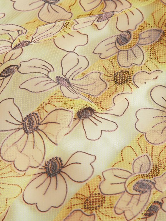 Floral Appliqué Tulle Dress in Citrus Yellow | Burberry - cell image 1