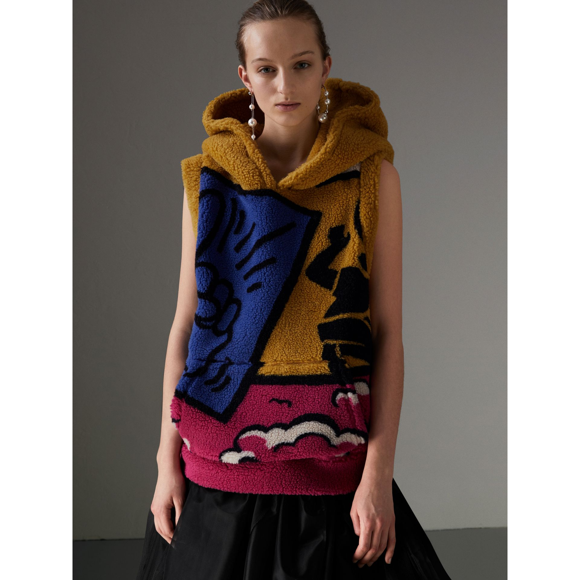 Poster Graphic Fleece Jacquard Sleeveless Hoodie in Bright Pink - Women | Burberry United States - gallery image 5