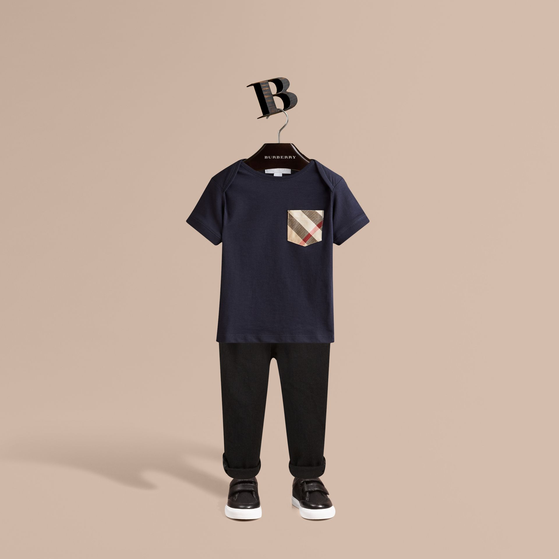 Check Pocket T-Shirt in True Navy - Boy | Burberry Canada - gallery image 1