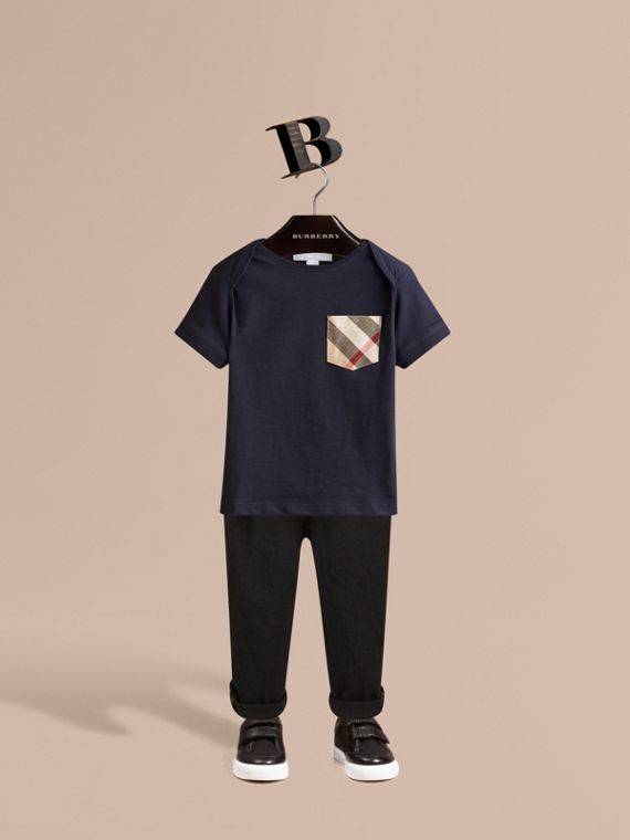 Check Pocket T-Shirt in True Navy