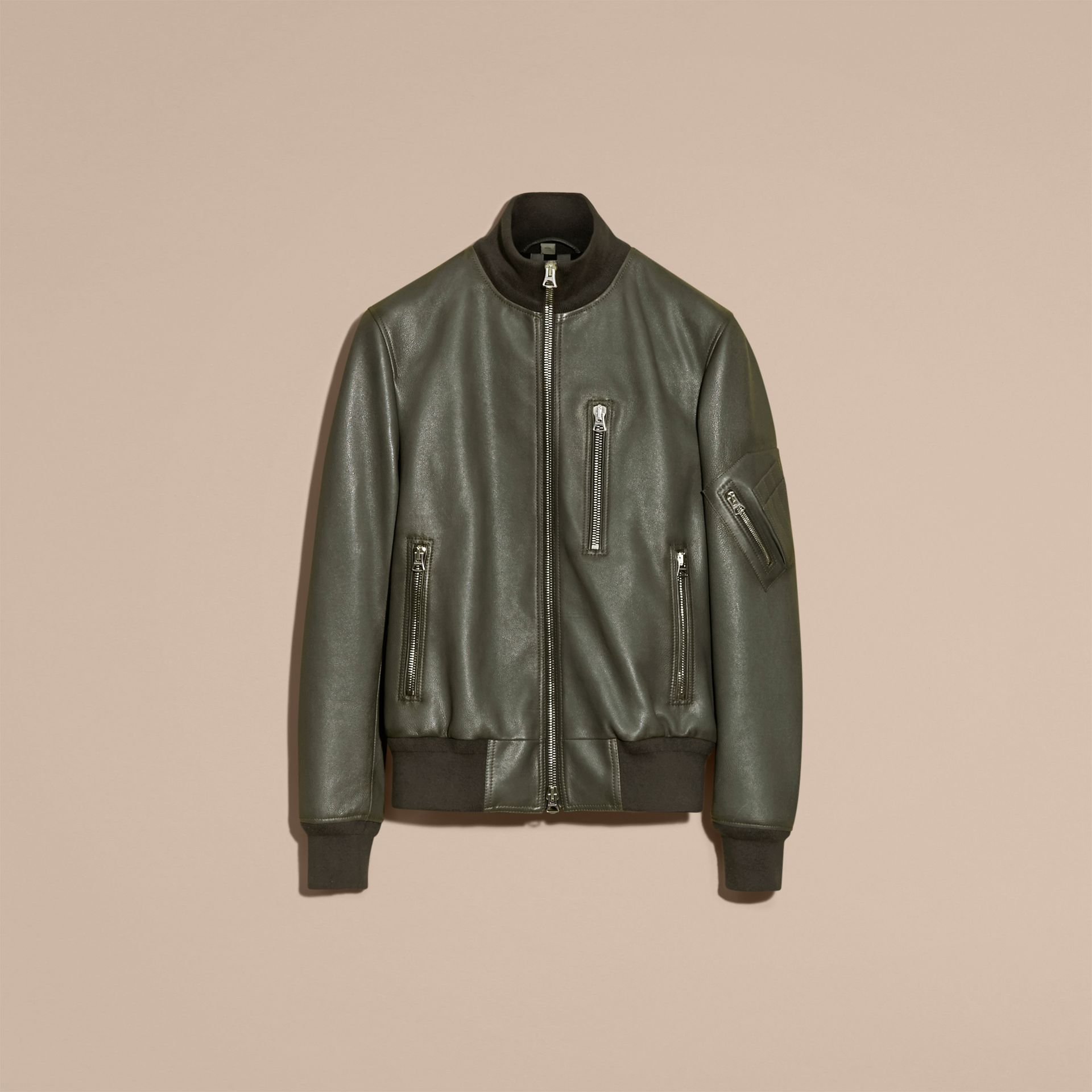 Dark steel Leather Bomber Jacket with Stand Collar - gallery image 4