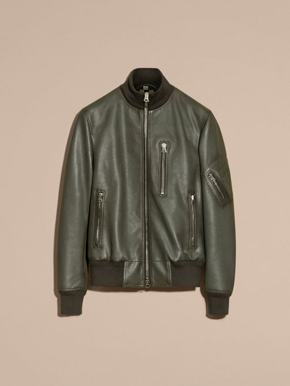 Dark steel Leather Bomber Jacket with Stand Collar - cell image 3