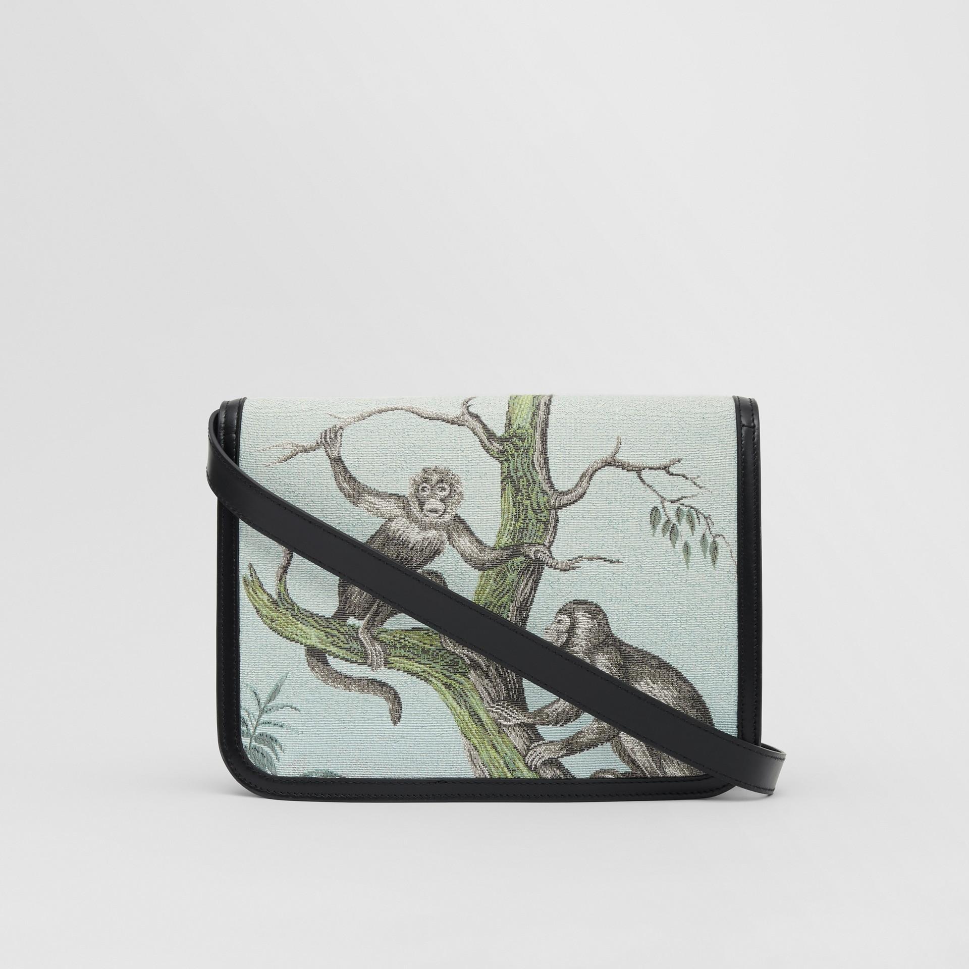Bolsa TB de couro com recorte de macacos em jacquard - Pequena (Preto/verde Opala) - Mulheres | Burberry - galeria de imagens 7