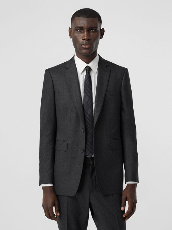 Classic Fit Wool Flannel Tailored Jacket in Charcoal