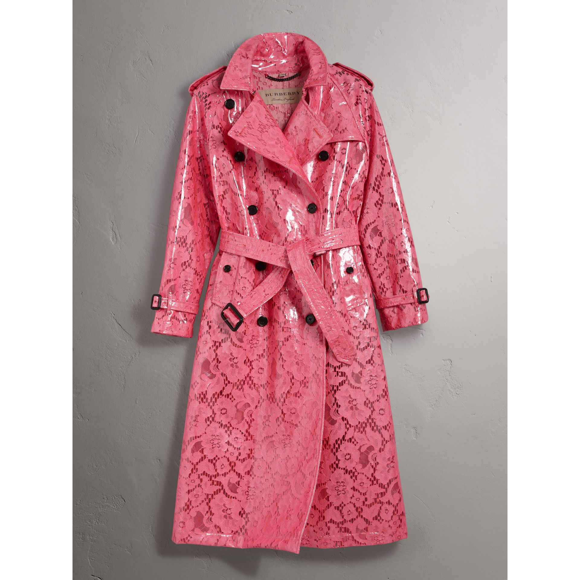 Laminated Lace Trench Coat in Bright Pink - Women | Burberry United Kingdom - gallery image 2