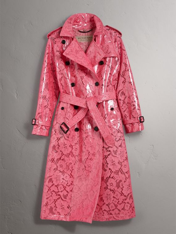 Laminated Lace Trench Coat in Bright Pink - Women | Burberry - cell image 3