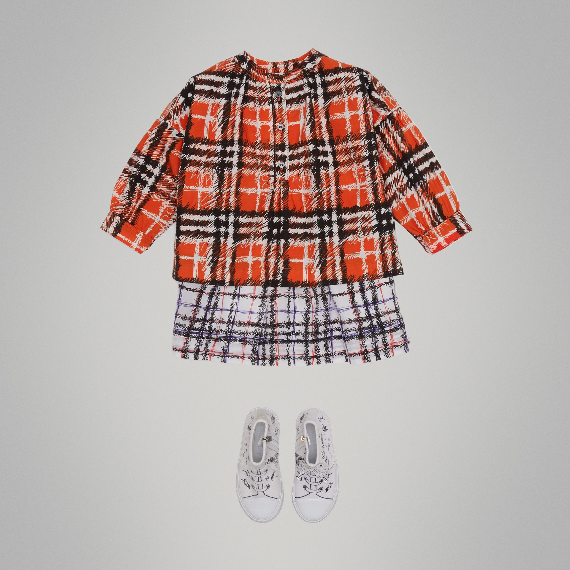 Scribble Check Print Cotton Shirt in Bright Red - Girl | Burberry - gallery image 2