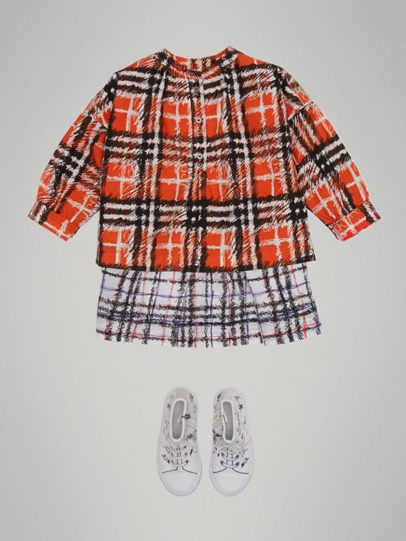 Scribble Check Print Cotton Shirt in Bright Red - Girl | Burberry - cell image 2