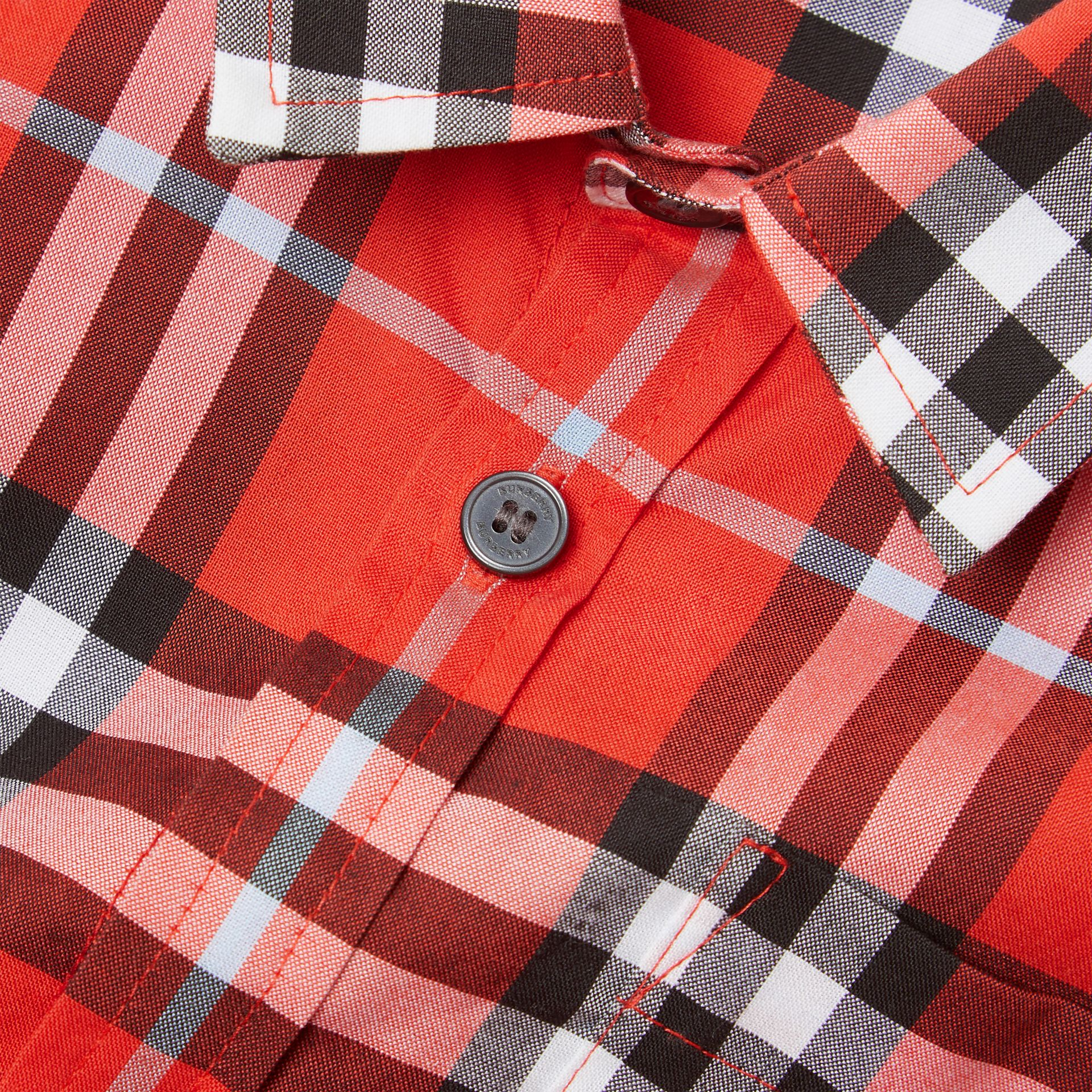 Short-sleeve Check Cotton Shirt in Orange Red | Burberry Canada - gallery image 1