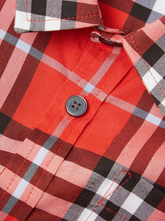 Short-sleeve Check Cotton Shirt in Orange Red | Burberry Canada - cell image 1