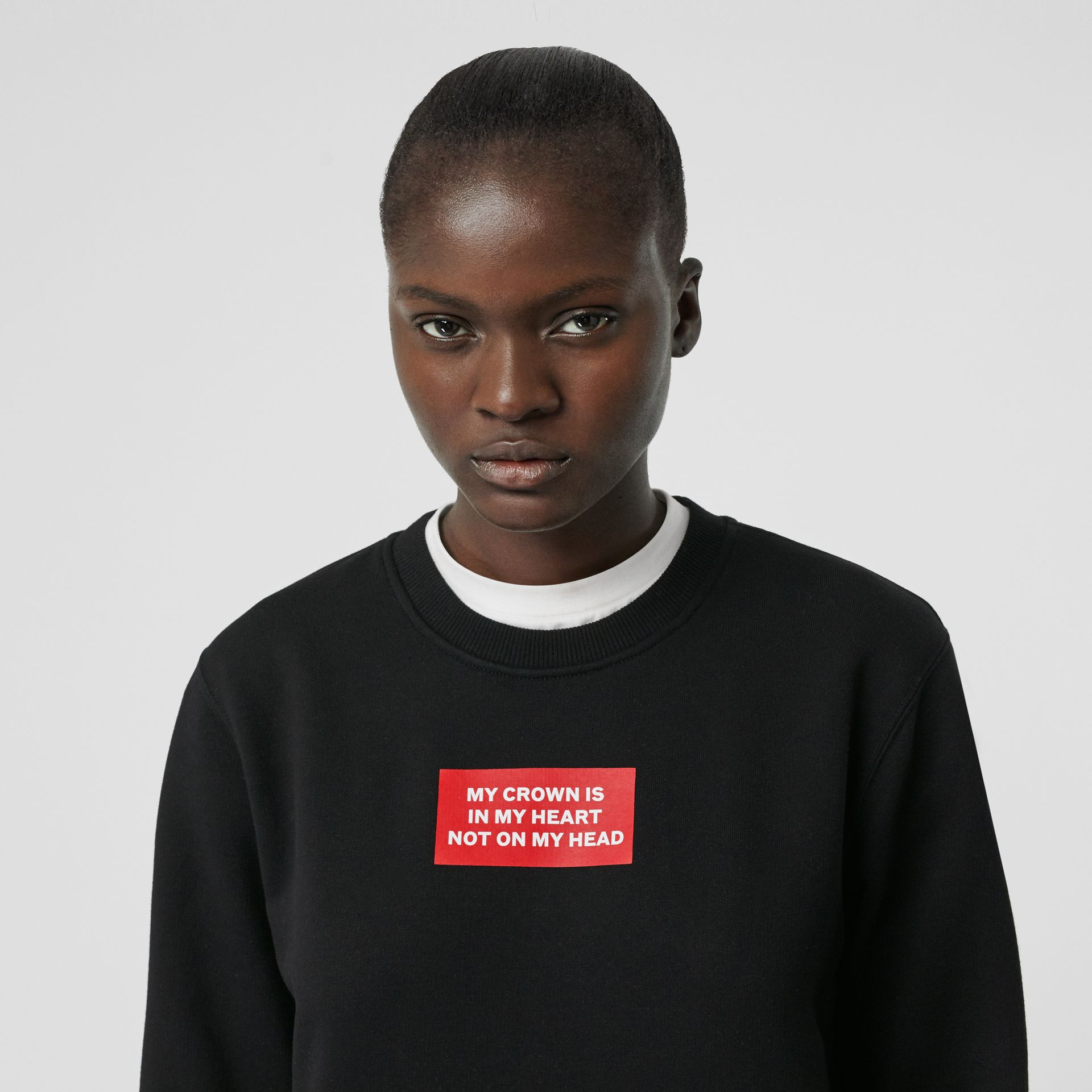 Quote Print Cotton Sweatshirt in Black - Women | Burberry - gallery image 1