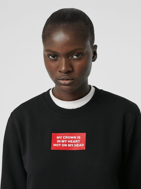 Quote Print Cotton Sweatshirt in Black - Women | Burberry Singapore - cell image 1