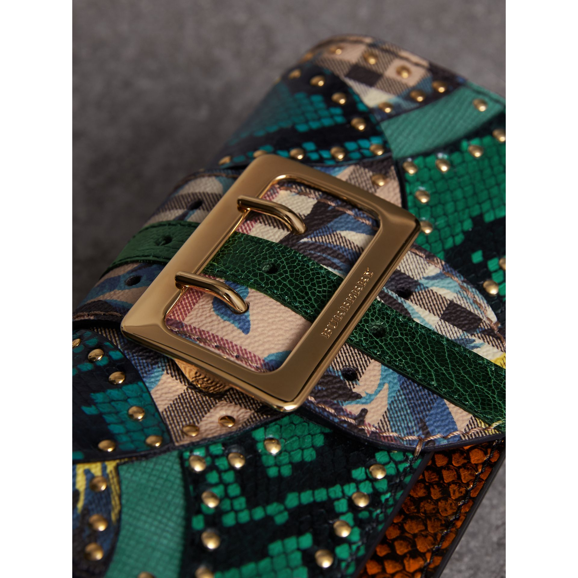 The Small Buckle Bag in Riveted Snakeskin and Floral Print in Turquoise - Women | Burberry - gallery image 2
