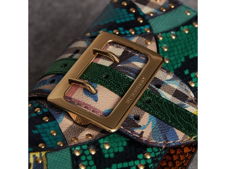 The Small Buckle Bag in Riveted Snakeskin and Floral Print in Turquoise - Women | Burberry - cell image 1