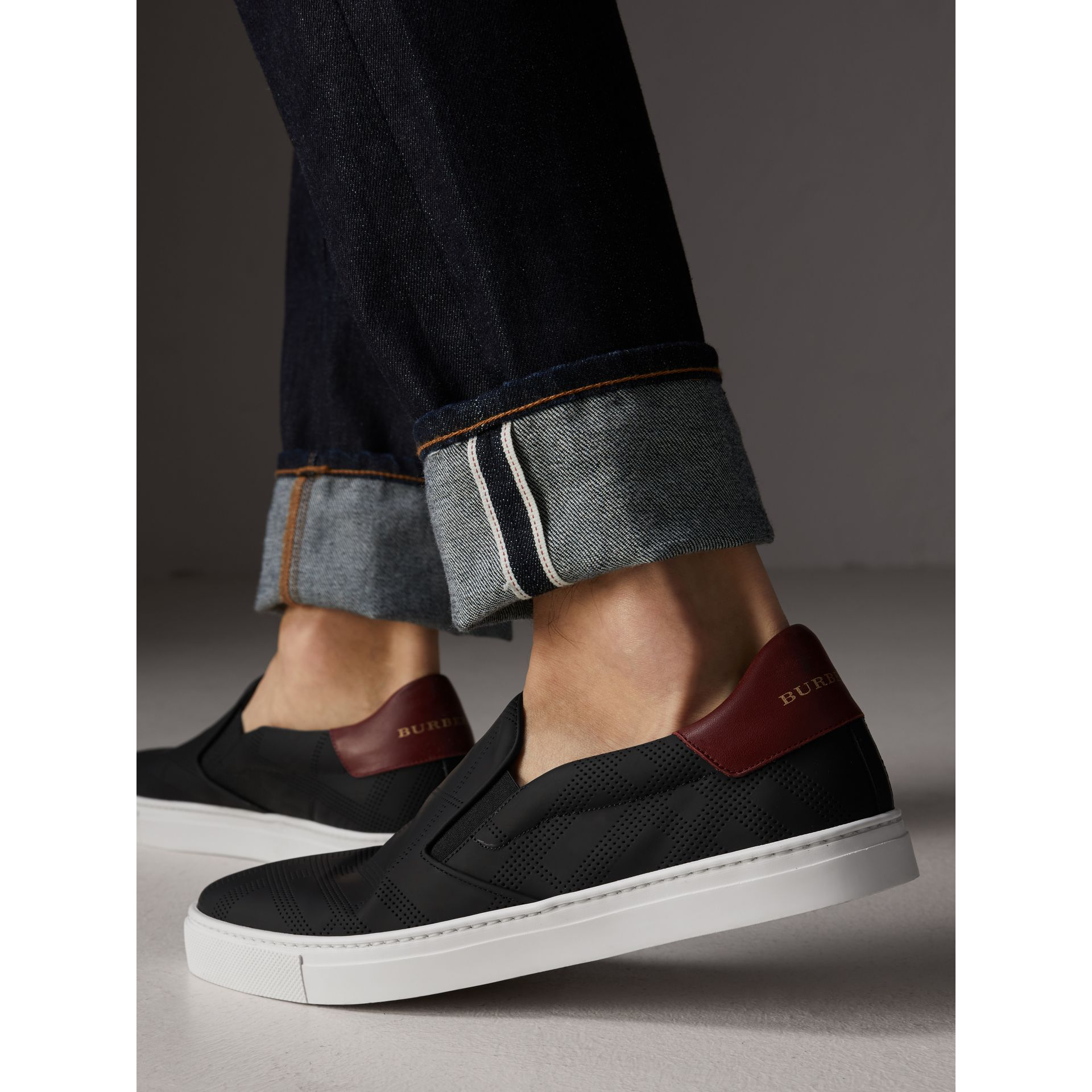 Perforated Check Leather Slip-on Trainers in Black/deep Claret Melange - Men | Burberry - gallery image 3