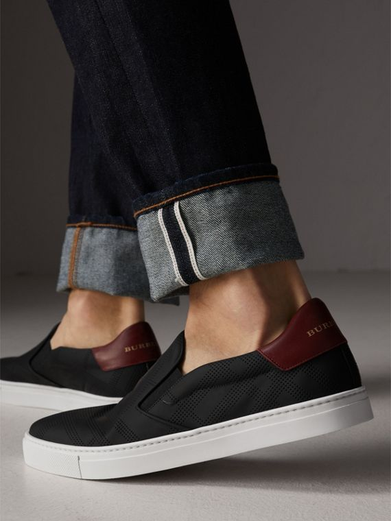Perforated Check Leather Slip-on Trainers in Black/deep Claret Melange - Men | Burberry - cell image 2