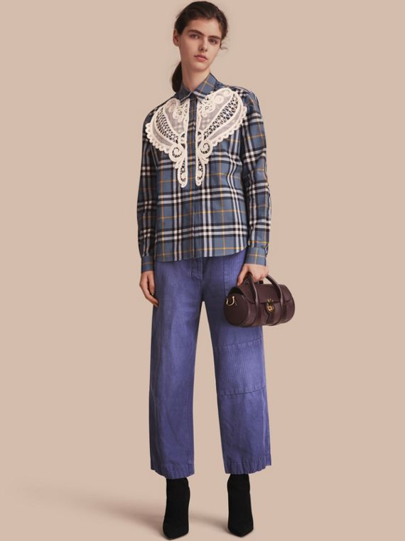 Lace Appliqué Check Cotton Shirt