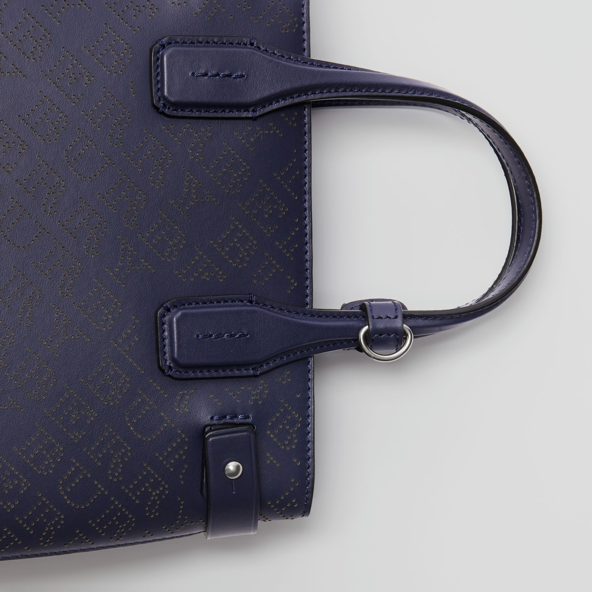 The Small Banner in Perforated Logo Leather in Regency Blue - Women | Burberry United Kingdom - gallery image 1